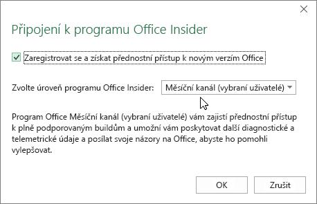 Dialogové okno pro zapojení se do programu Office Insider s možností výběru úrovně Měsíční kanál (vybraní uživatelé)