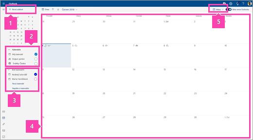 Snímek obrazovky s rozhraním modulu Kalendář