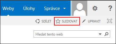 Sledujte web SharePointu Online a přidejte odkaz na svoji stránku Weby v Office 365.
