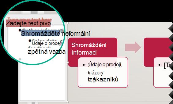 Zadejte text do textového editoru nalevo od grafiky.