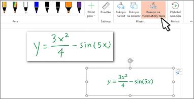 Ručně napsaná rovnice a stejná rovnice převedená na formátovaný text s čísly