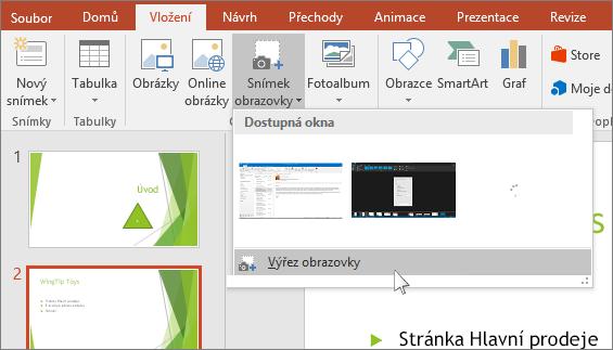 rozevírací nabídka výřezu obrazovky v powerpointu