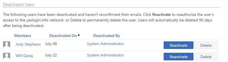 Snímek obrazovky se stránkou deaktivované uživatele v Yammeru