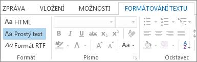 Možnosti formátu zprávy na kartě Formátování textu