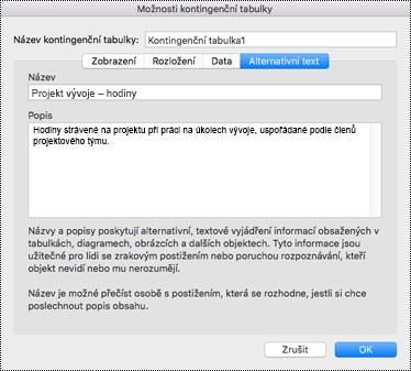 Dialogové okno Alternativní text pro kontingenční tabulku v Excelu