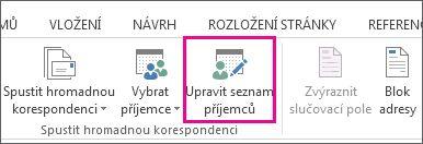 Snímek obrazovky s na kartě korespondence ve Wordu, s příkazem Upravit seznam příjemců jako zvýrazněný.