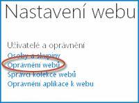 Snímek obrazovky se sadou možností na stránce Nastavení webu, která ukazuje odkazy Lidé a Skupiny