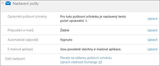 Snímek obrazovky: Převést poštovní schránky uživatele na sdílené poštovní schránky