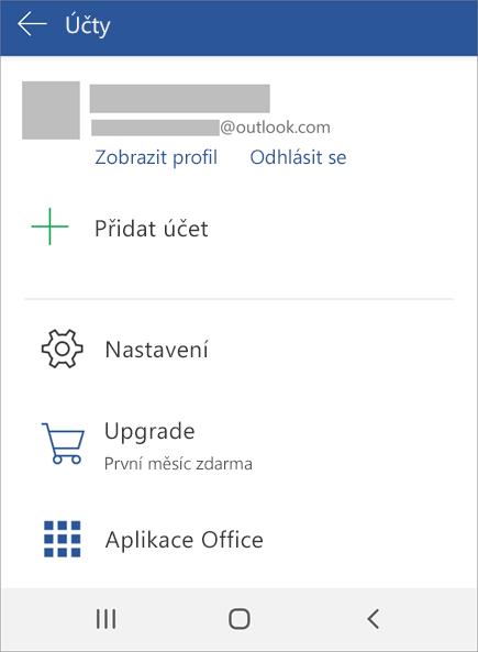Zobrazuje možnost Odhlásit se z Office na zařízení s Androidem
