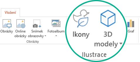 Tlačítka pro ikony a 3D modely na kartě Vložení na pásu karet v Office 365