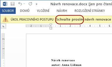 Kontrolovaná položka s vyznačeným textem Schvalte dokument
