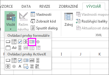 the list box form control button
