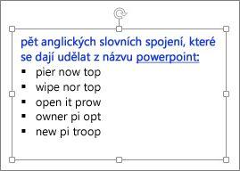 Formátování v textovém poli v PowerPointu