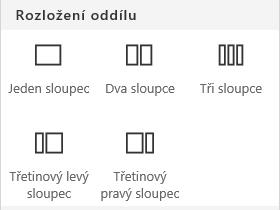 Snímek obrazovky s nabídkou rozložení oddílu na SharePointu