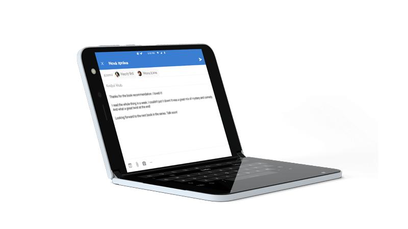 Outlook otevřený pomocí klávesnice na celé obrazovce