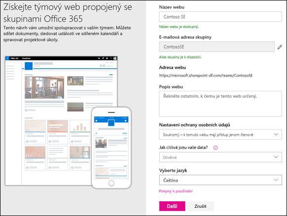 Vytvoření sharepointového týmového webu