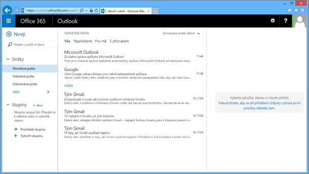 Až naimportujete poštu ze souboru PST, zobrazí se i v aplikaci OWA.