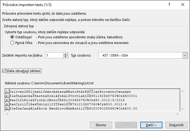 Excel, Načíst externí data, Z textu, Průvodce importem textu, Krok 1 ze 3