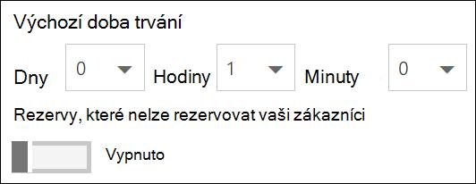 Snímek obrazovky: Nastavte výchozí trvání pro službu