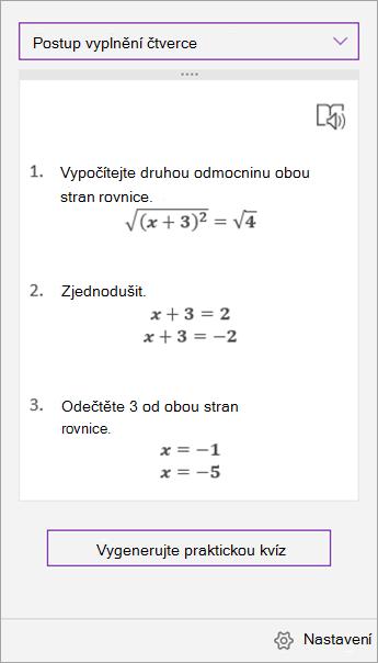 Kroky řešení v podokně úloh pro matematiku