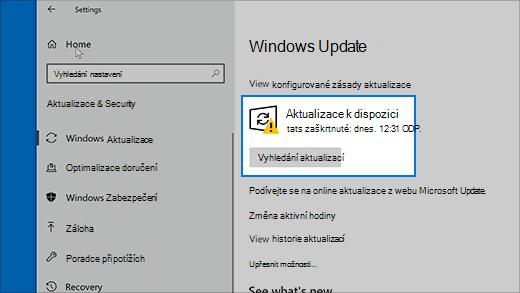 Vyhledání aktualizací ve Windows 10