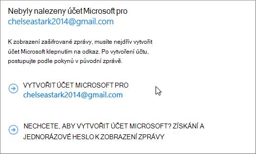 Vytvořit účet Microsoft