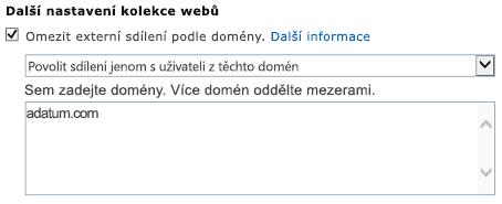 Snímek obrazovky s omezeným přístupem doména dialogové okno nastavení kolekce webů.