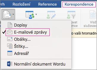 e-mailu hromadné korespondence