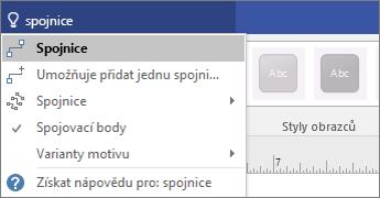 Snímek obrazovky s nástrojem Řekněte mi, co chcete udělat, který zobrazuje výsledky připojení.