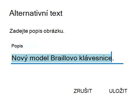 Dialogové okno Alternativní text v Outlooku pro Android