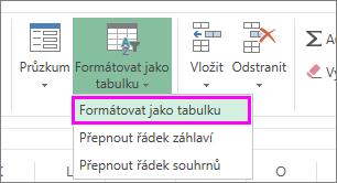 Tlačítko pro formátování dat jako tabulky