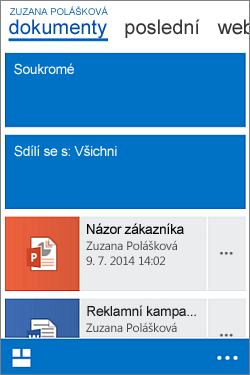 Mobilní zobrazení mojí knihovny dokumentů