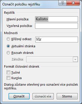 Dialogové okno Označit položku rejstříku