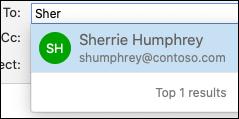 Výsledky hledání v adresáři v Outlooku