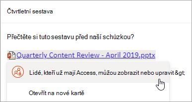 Snímek obrazovky s odkazem na OneDrive souboru