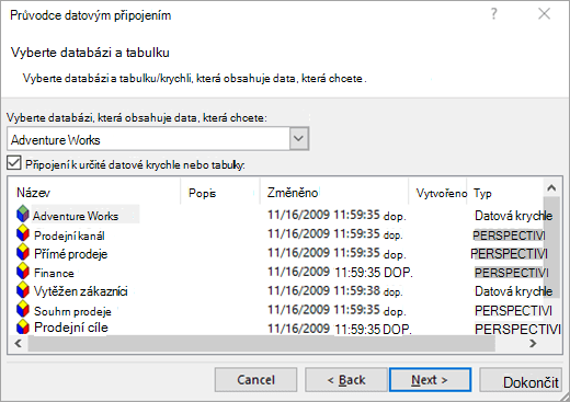 Obrazovka Průvodce datovým připojením 2