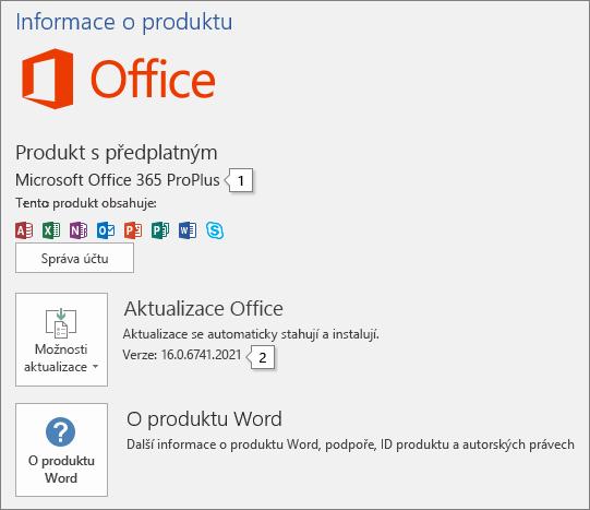 Snímek obrazovky se stránkou Účet zobrazující název a číslo úplné verze produktu Office
