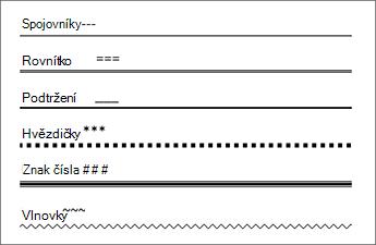 Tabulka obsahující řádky, které vytvářejí některé znaky