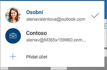 Přepínání mezi účty v aplikaci OneDrive pro Android