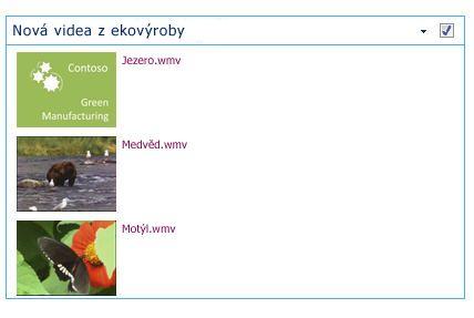 Příklad webové části Dotaz na obsah