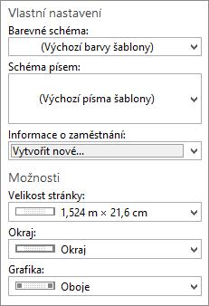 Snímek obrazovky aplikace Publisher přizpůsobení a možnosti výběru.
