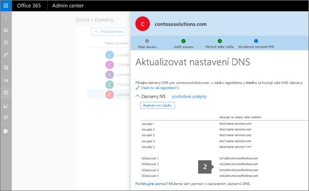 V Průvodci nastavením zkopírujte na názvové servery na hostitele vaší domény