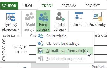Aktualizace fondu zdrojů po úpravě zdrojů ve sdílejícím souboru