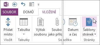 Po kliknutí na tlačítko Šablony stránek můžete zobrazit a pracovat se šablonami.