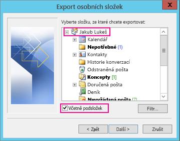 Vyberte e-mailový účet, který chcete exportovat.