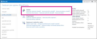 Snímek obrazovky se stránkou profilů uživatelů v Centru pro správu SharePointu Online