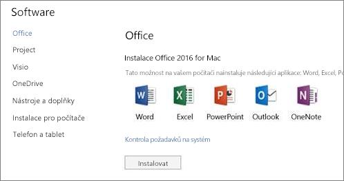 Obrazovka instalace softwaru nastavení Office 365 na počítači Mac