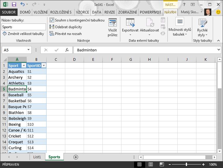 Pojmenování tabulky v Excelu