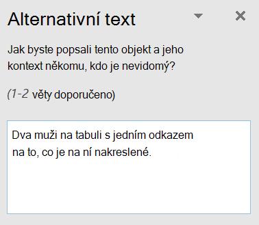 Dialogové okno Alternativní text v Outlooku