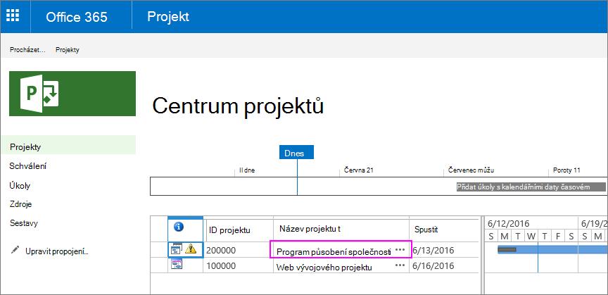 V centru projektů zvolte název projektu, ke kterému se příkaz obor vztahuje.